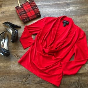 Frank Lyman Red cow neck blouse.